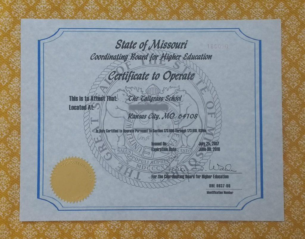 missouri education higher department operate tallgrass officially certified certificate woohoo